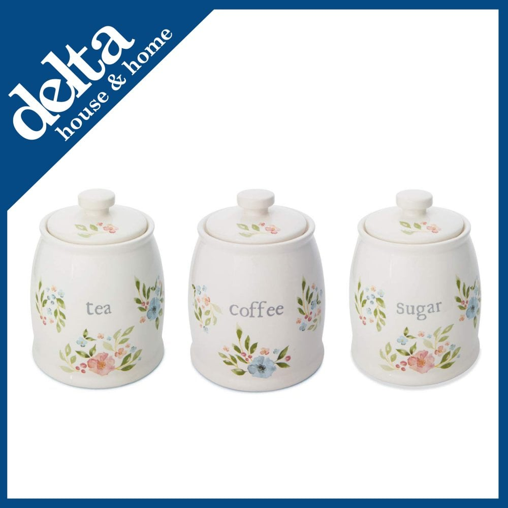 Cooksmart Country Floral Ceramic Tea Coffee Sugar Canister Set