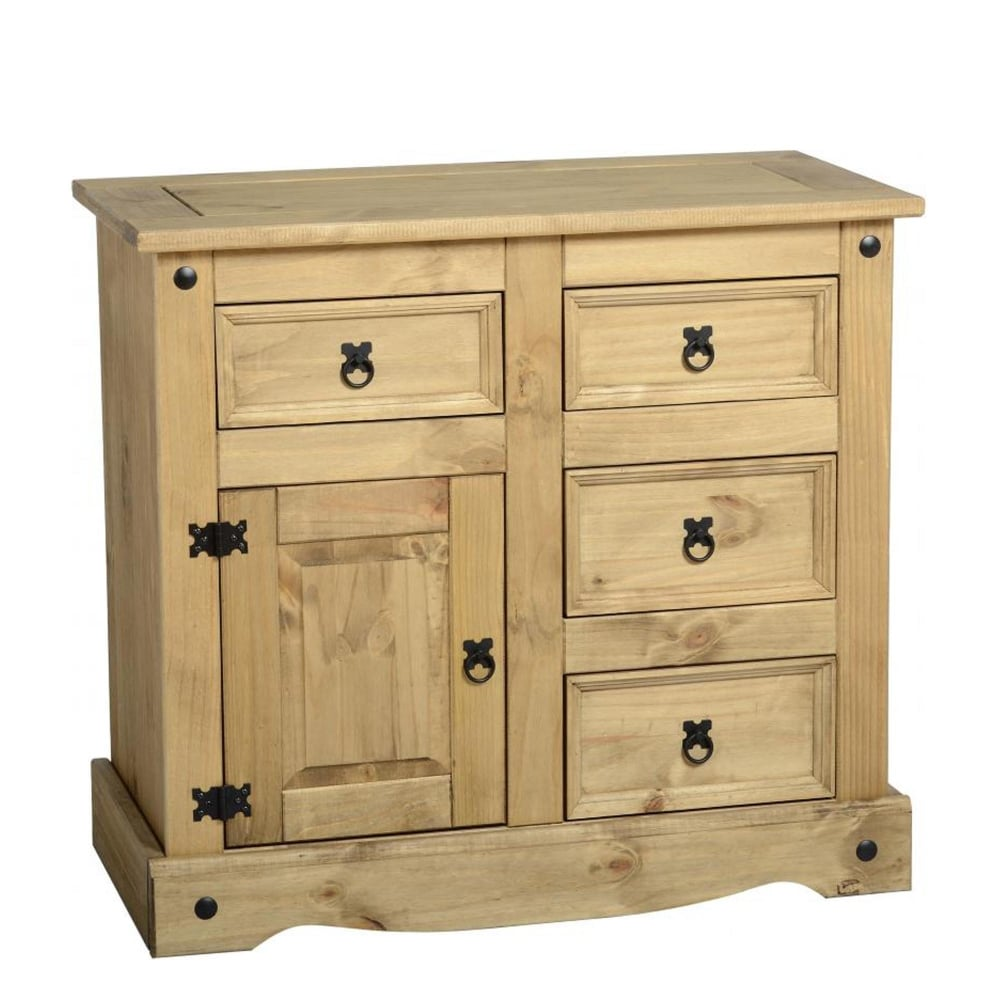 Corona 1 door 4 drawer sideboard in distressed waxed pine furniture from delta house and home uk