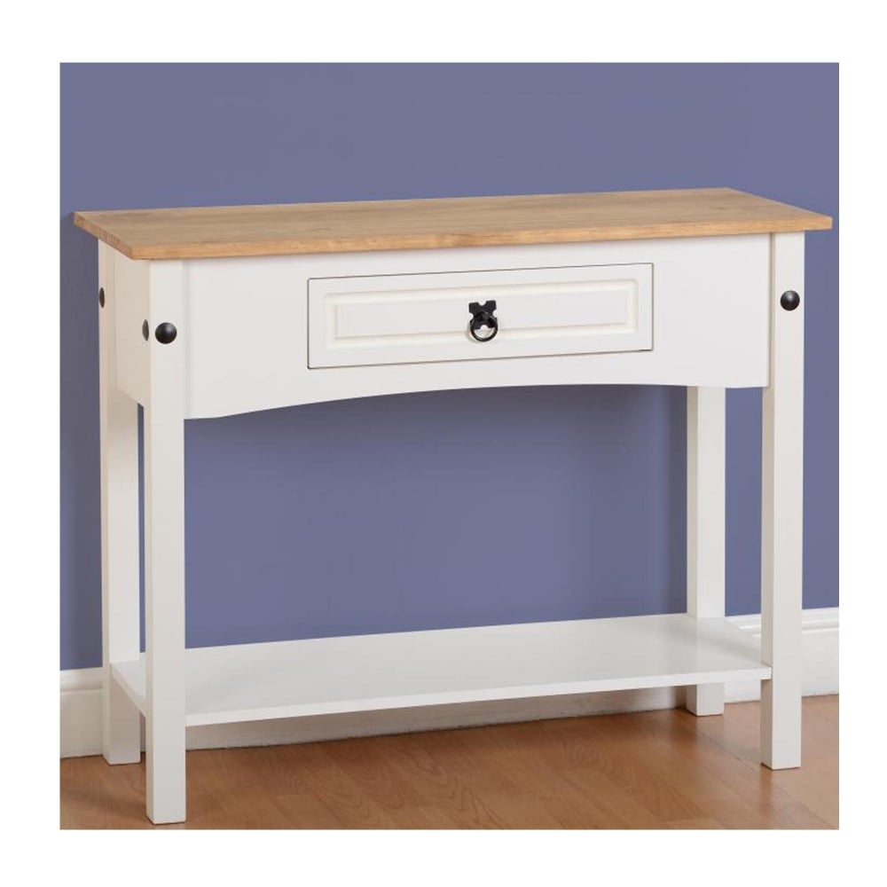 Corona 1 Drawer Console Table With Shelf In White Distressed Waxed Pine