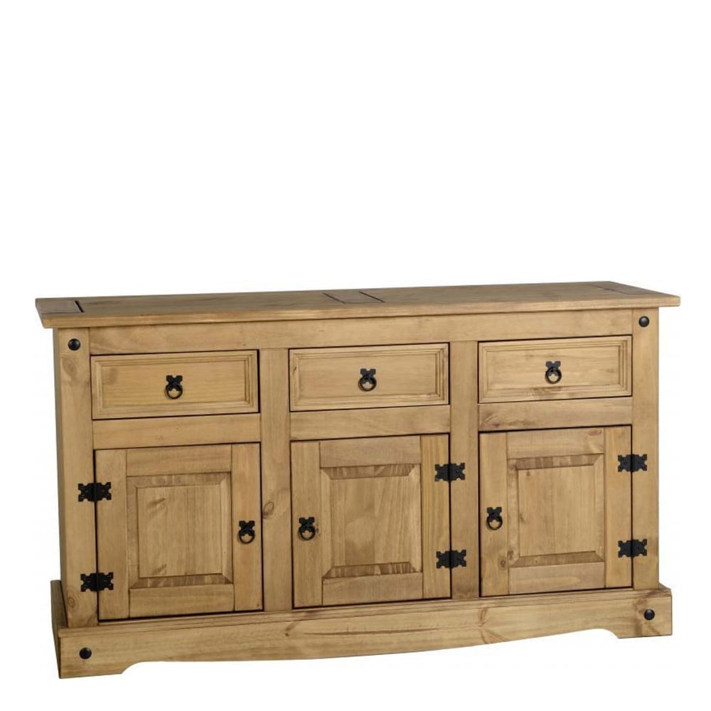 Corona 3 door 3 drawer sideboard in distressed waxed pine furniture from delta house and home uk