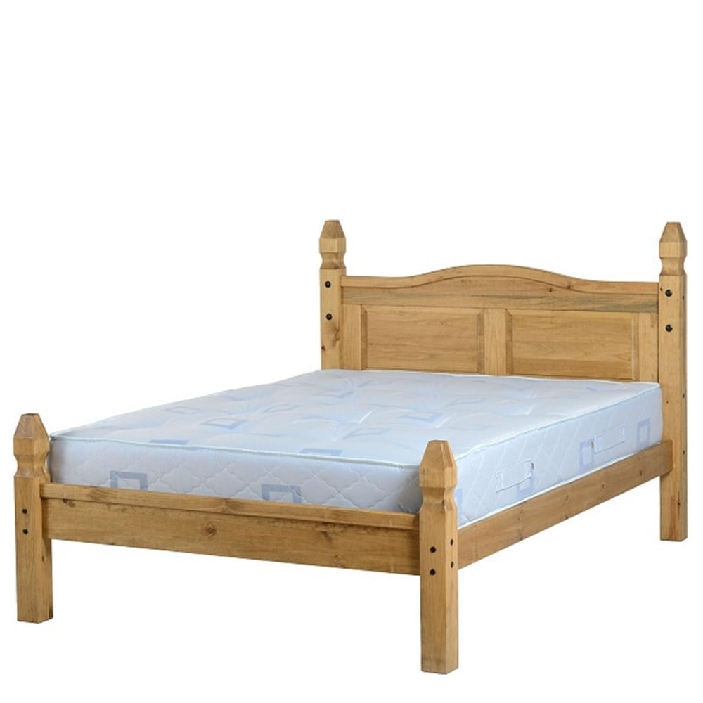 Corona 4 6 Low End Double Bed In Distressed Waxed Pine