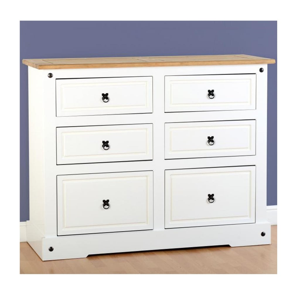 Corona 6 drawer chest in white distressed waxed pine furniture from delta house and home uk