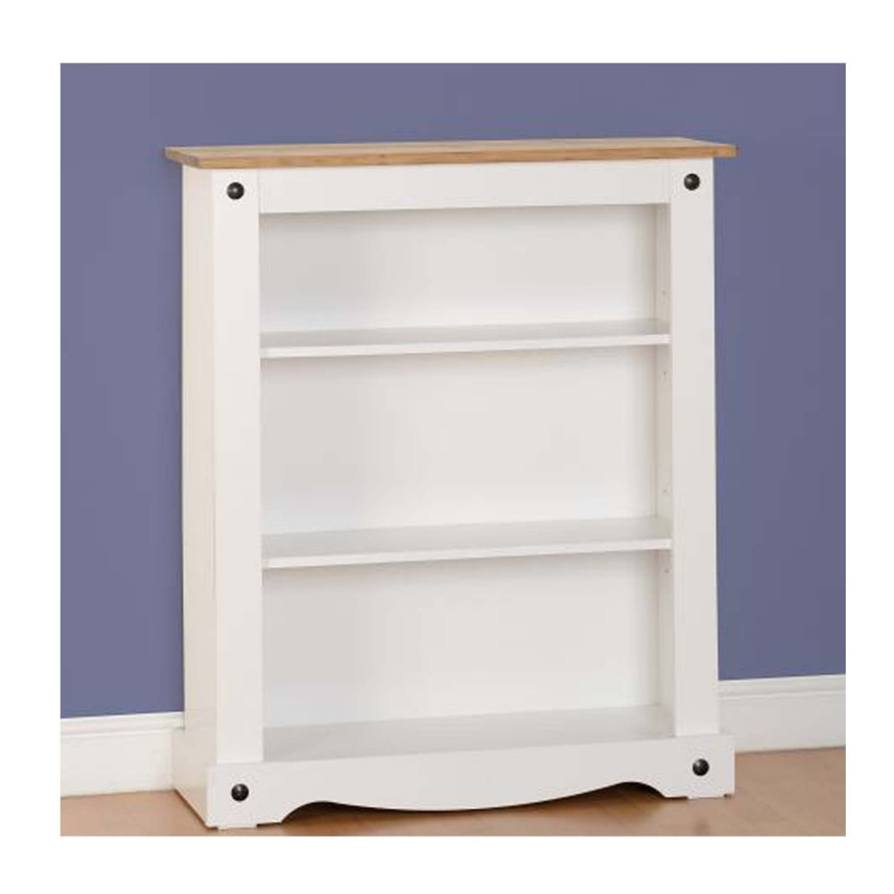 Corona Low Bookcase In White Distressed Waxed Pine
