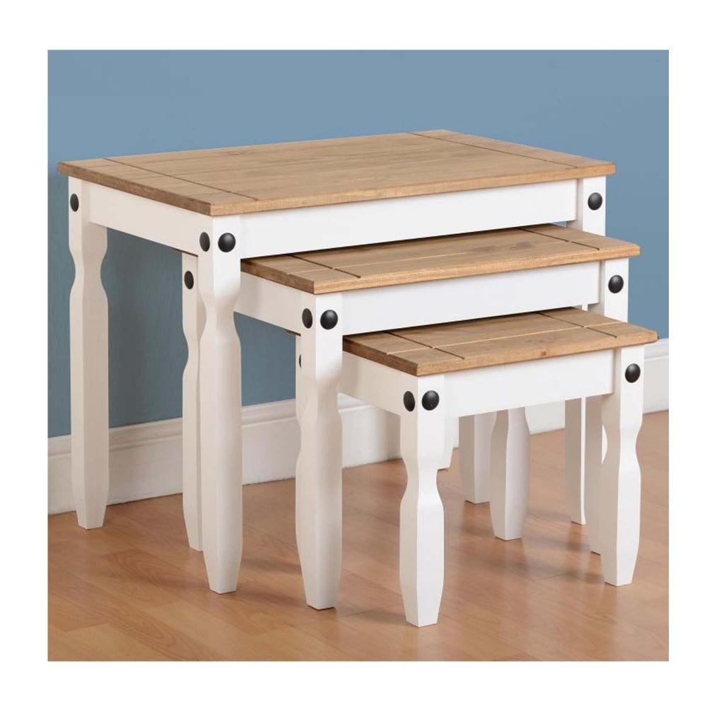 Corona Nest Of Tables In White Distressed Waxed Pine