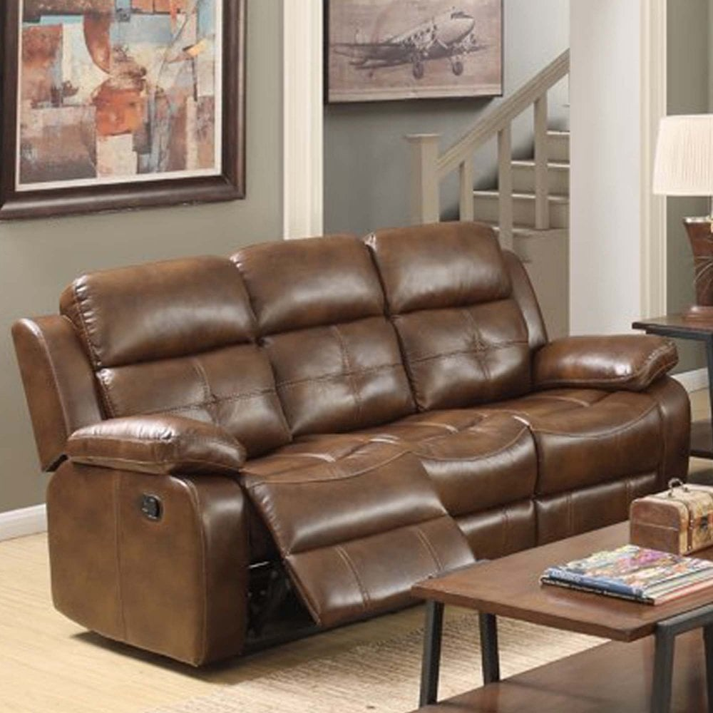 Dorchester 3 Seater Recliner Leather Effect Tan Furniture From