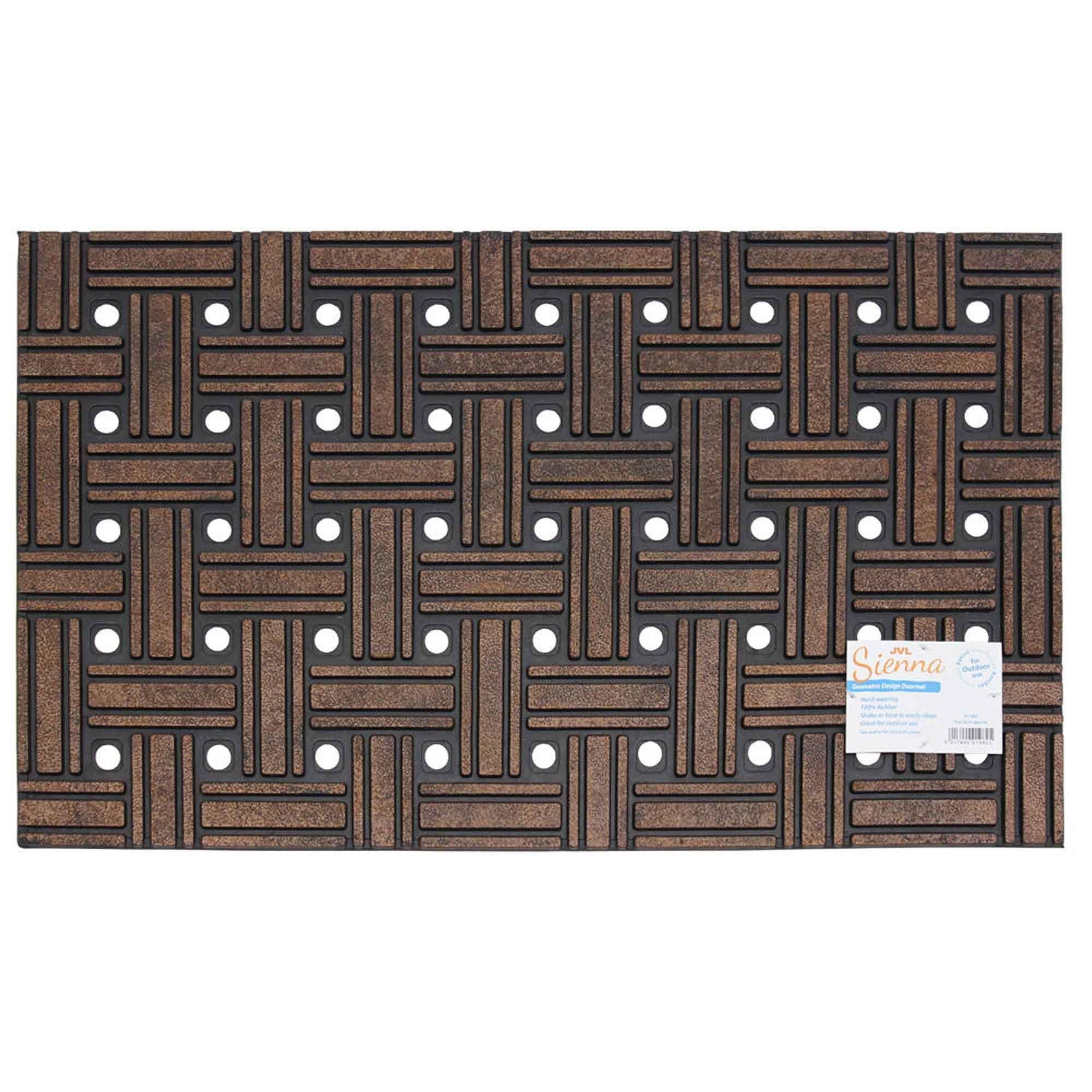 Jvl Sienna Geometric Weave Heavy Duty Outdoor Rubber Door Mat 45cmx75cm