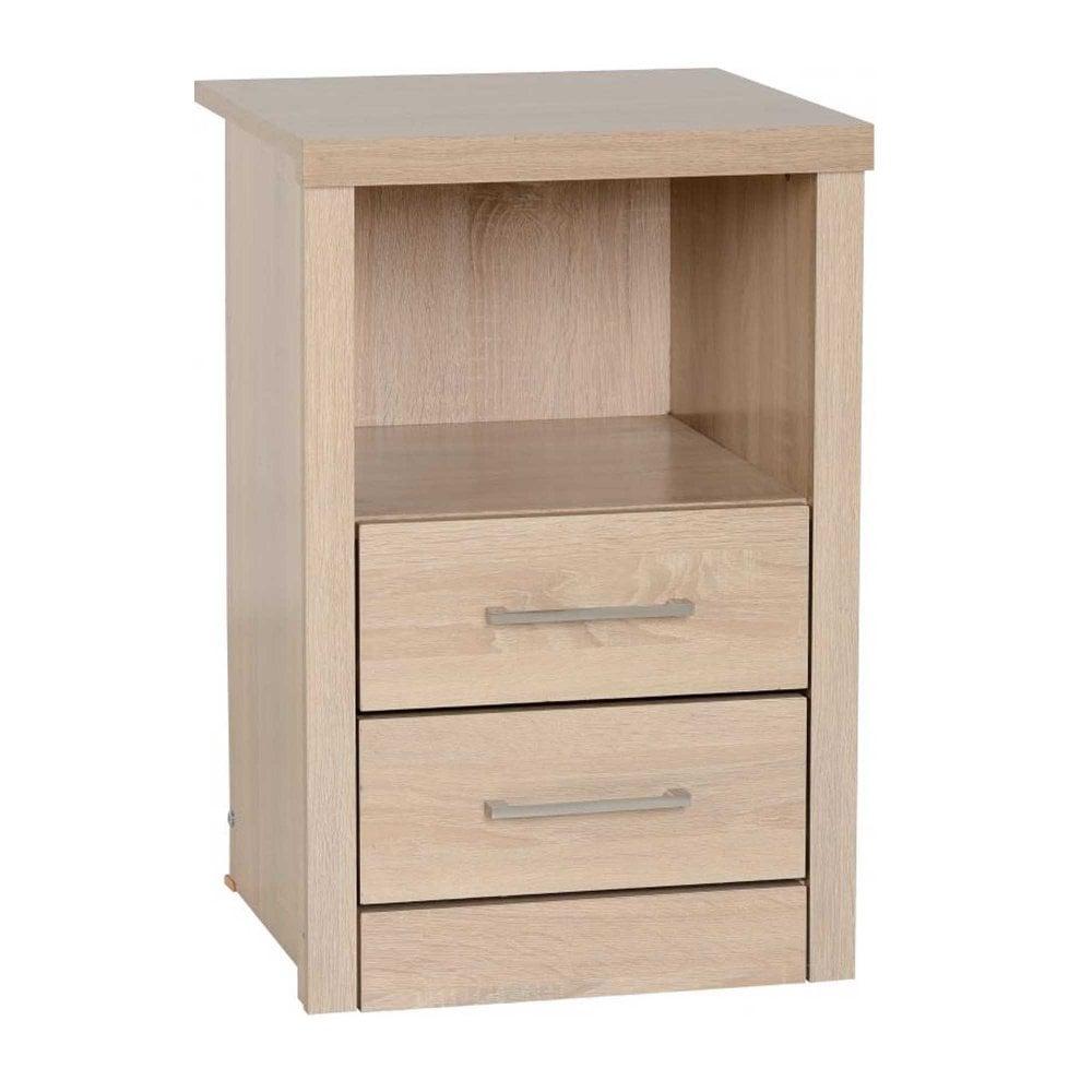 Lisbon 2 Drawer 1 Shelf Bedside Cabinet In Light Oak Effect Veneer
