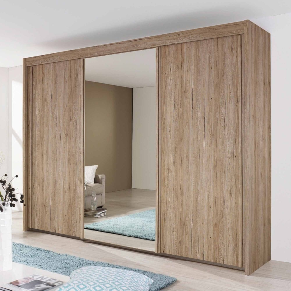 Rauch Imperial Sliding Wardrobe Front With Wooden Decor And Mirror